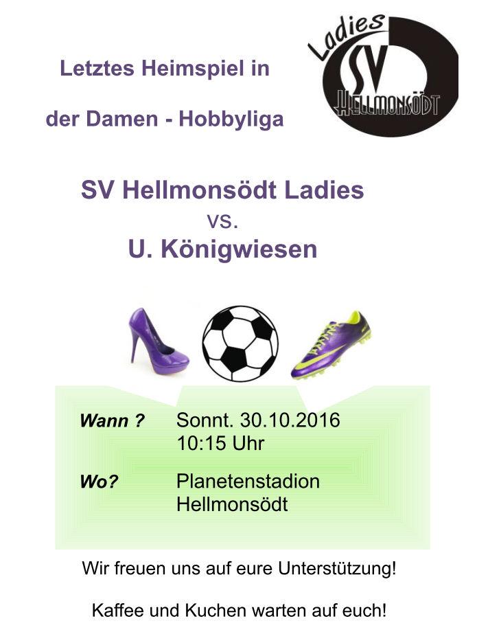 Letztes Heimspiel der SVH Ladies gegen Königswiesen am 30.10. um 10:15 im Planetenstadion Hellmonsödt